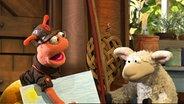 Finchen bringt Wolle ein selbst gemaltes Bild © NDR / Uwe Ernst