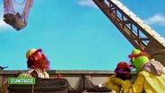 """Käpt'n Knut Sodbrennen und seine Mannschaft an Bord des Fischkutters """"Wilde Gräte"""". © NDR/Sesame Workshop Fotograf: screenshot"""