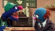 Grobi als Kaffee-Verkäufer. © NDR/Sesame Workshop Fotograf: screenshot