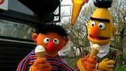 Ernie hält zwei Zitroneneistüten in der Hand und bietet Bert eine an. © NDR