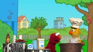 Elmo und Bert kochen Suppe. © NDR/Sesameworkshop Foto: Screenshot