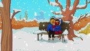 Elmo und Bert teilen sich eine Jacke. © NDR/Sesameworkshop Foto: Screenshot